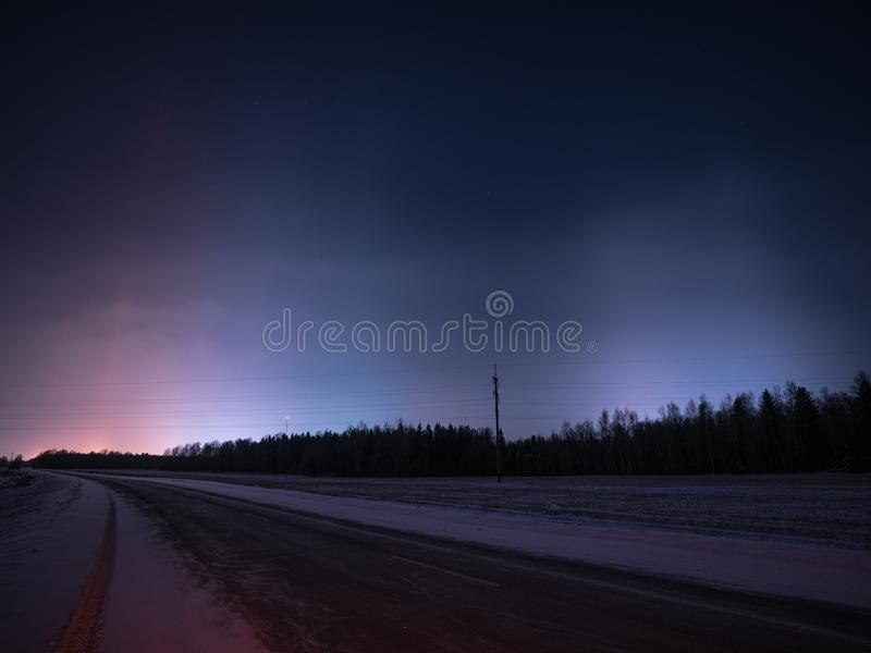Красивые светлые штендеры в зиме стоковое изображение rf