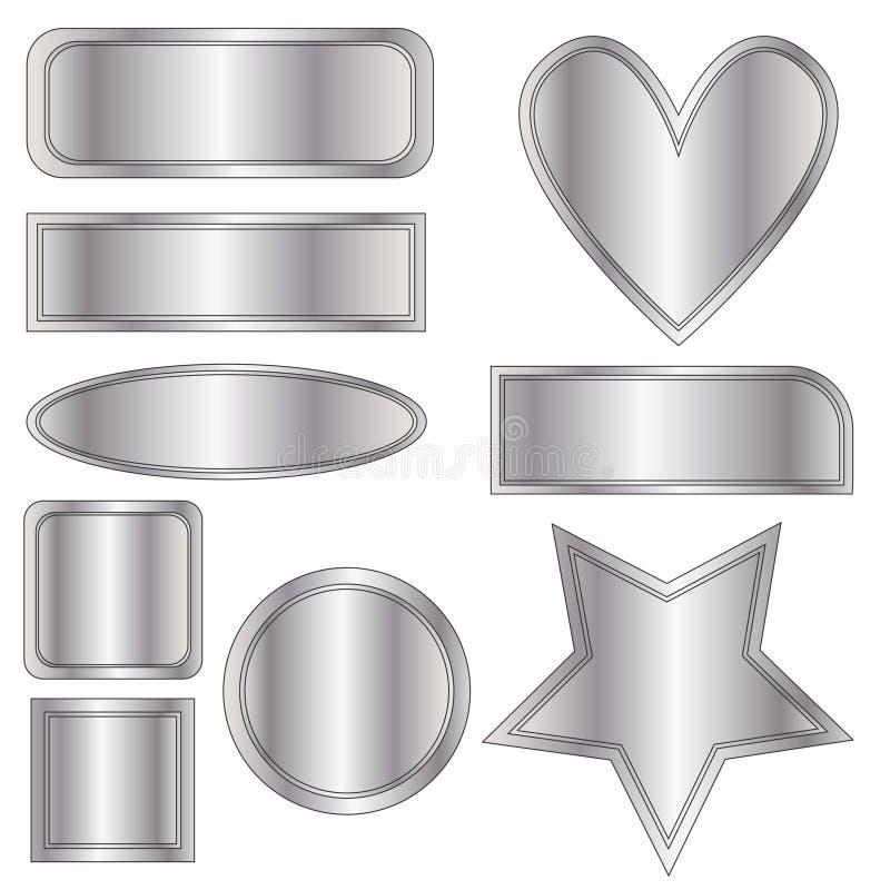 Красивые серебряные кнопки, сердце и звезда металла над белой предпосылкой иллюстрация вектора