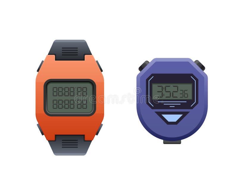 Красивые современные цифровые наручные часы Вахта спорта секундомера и запястья руки бесплатная иллюстрация