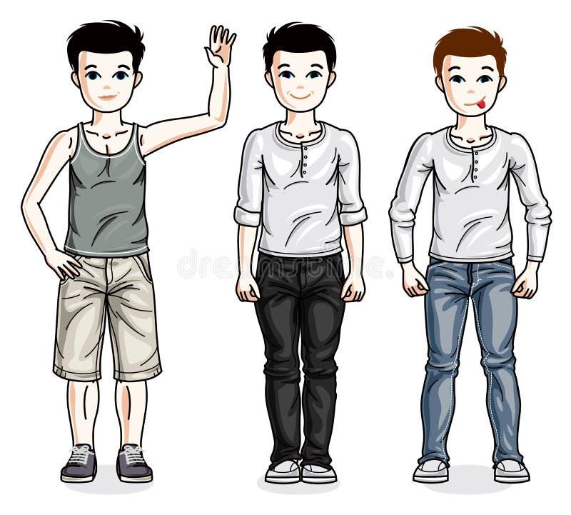 Красивые счастливые молодые мальчики подростка представляя нося модные вскользь одежды иллюстрация штока