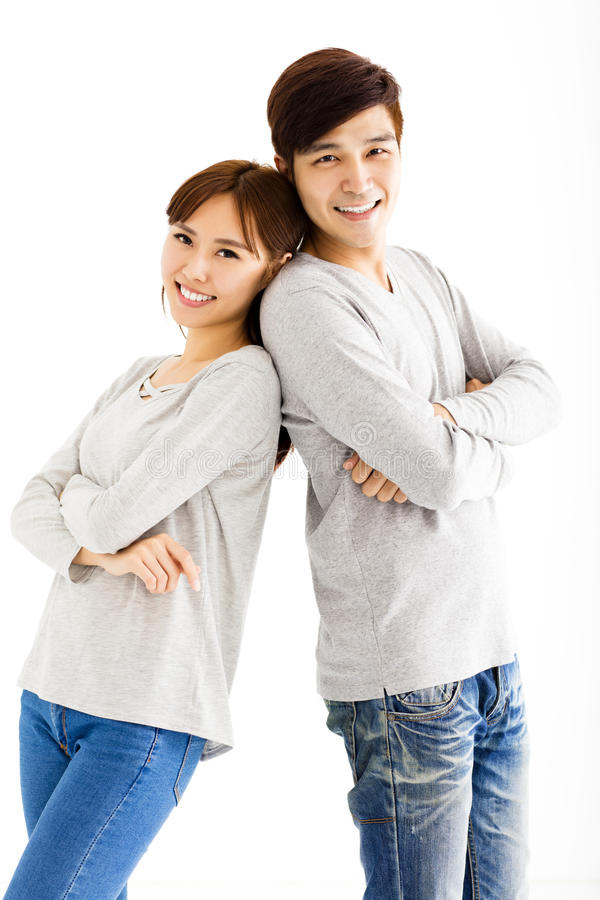 Красивые счастливые молодые азиатские пары стоковая фотография rf