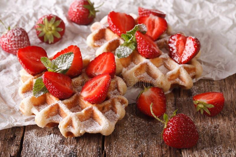 Красивые сладостные waffles с клубниками, напудренным сахаром Horiz стоковое фото rf