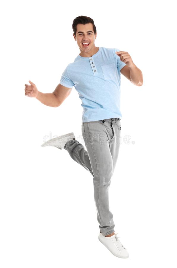 Красивые танцы молодого человека на белизне стоковые изображения rf