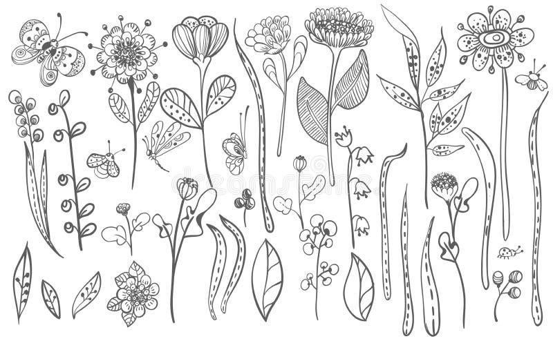 Красивые трава doodle и силуэт цветков иллюстрация штока