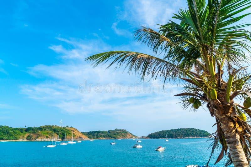 Красивые тропические пляж и море с пальмой кокоса в parad стоковая фотография rf