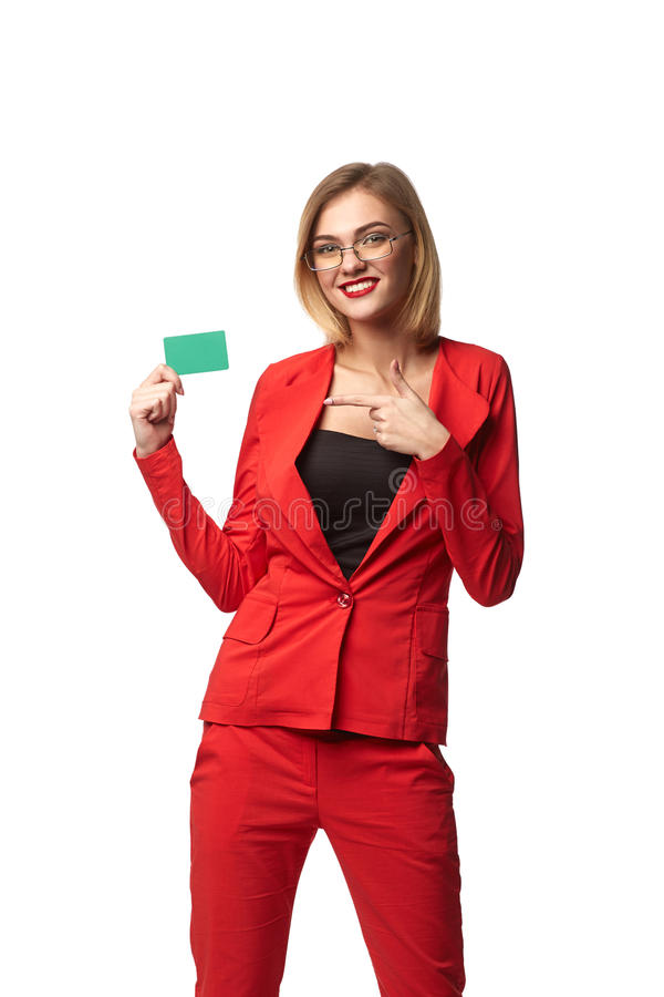Красивые усмехаясь зрелища бизнес-леди нося и в r стоковое изображение rf