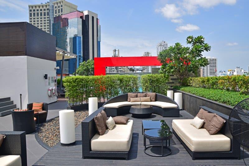 Красивые установки крыши для релаксации и рекреационной деятельности стоковое фото