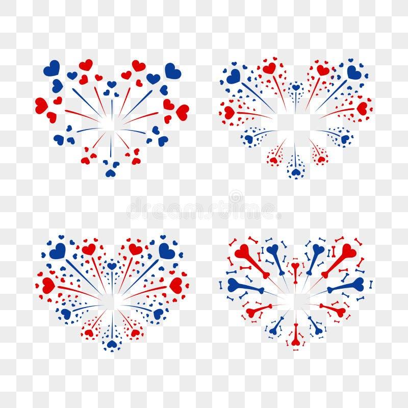 Красивые установленные сердц-фейерверки Романтичный салют изолированный на прозрачной предпосылке Фейерверк украшения влюбленност иллюстрация вектора
