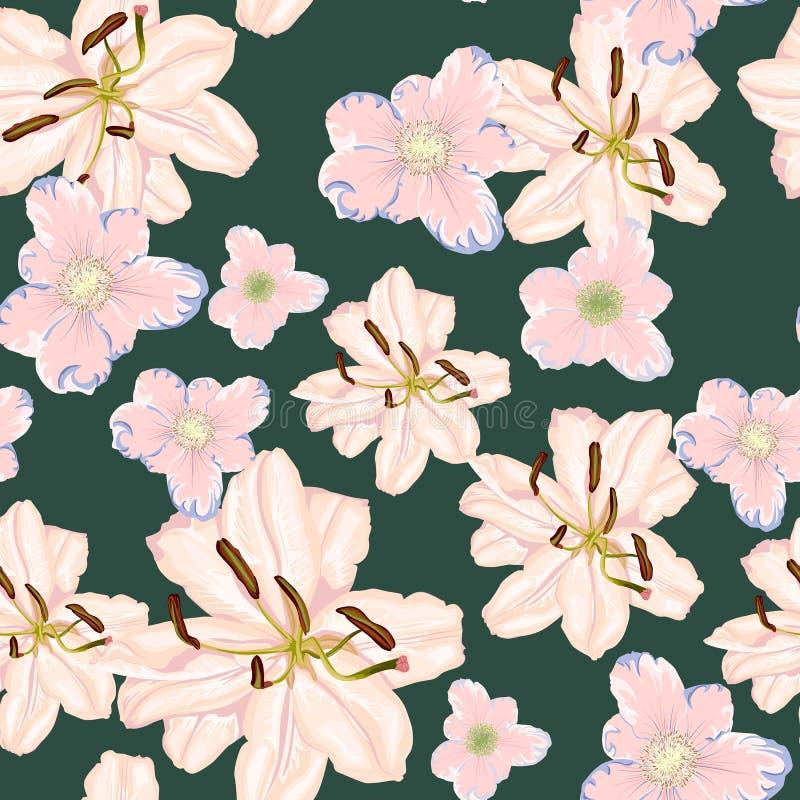 Красивые цветки белых лилий Безшовная картина на черной предпосылке также вектор иллюстрации притяжки corel бесплатная иллюстрация