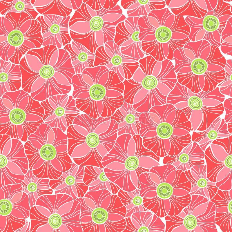 Красивые цветки мака установили, картина красочного вектора безшовная бесплатная иллюстрация