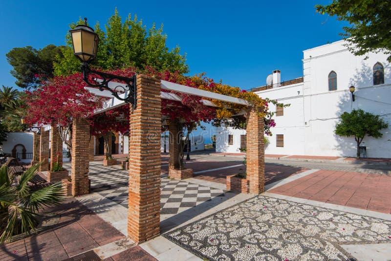 Красивые цветки на улицах в Maro около NErja, Испании стоковые фото