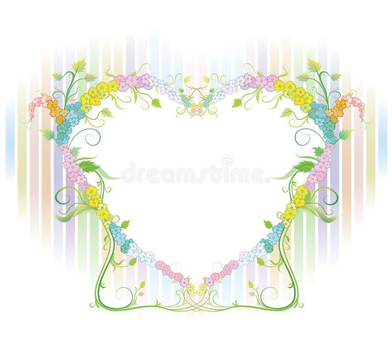 Красивые цветки с сердцем иллюстрация вектора