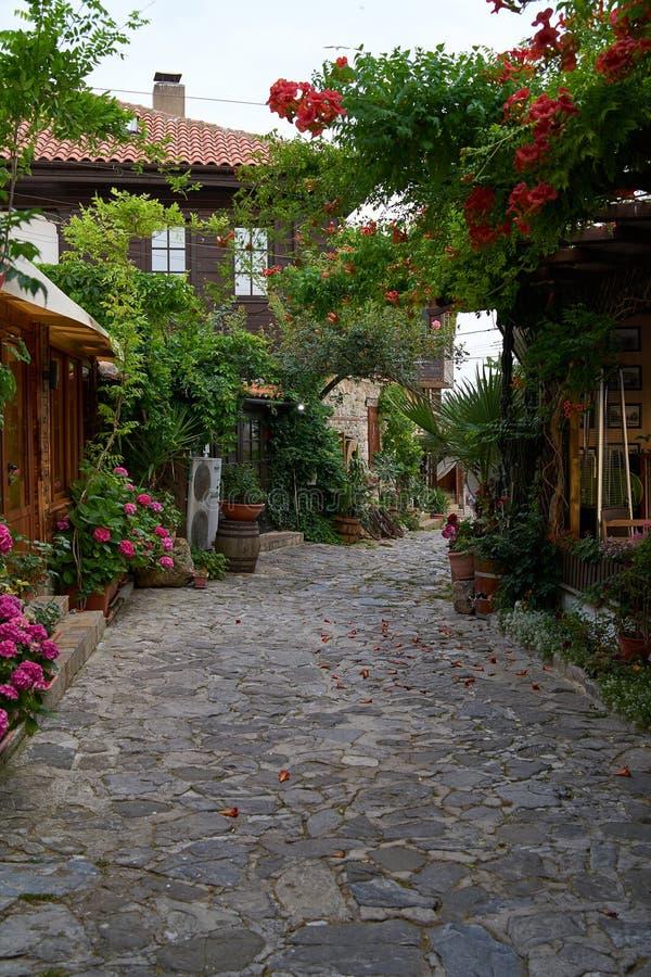 Красивые цветок и узкая улочка с ресторанами и кафами старого приморского города стоковая фотография