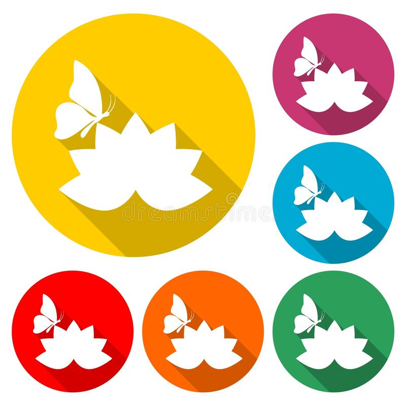 Красивые цветок лотоса и значок бабочки, значок цвета с длинной тенью иллюстрация штока