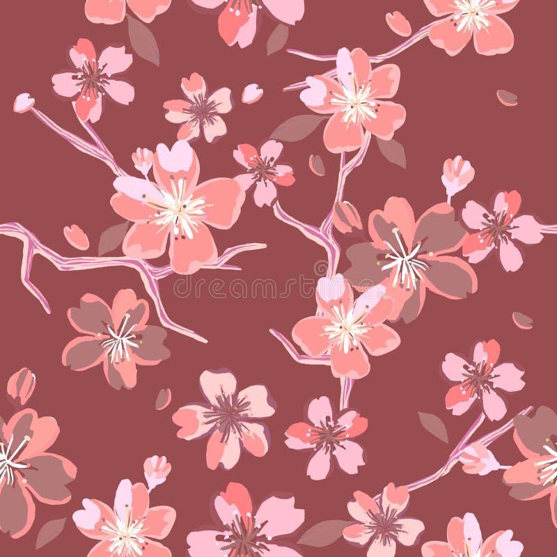 Красивые цветочные узоры в японском стиле иллюстрация штока