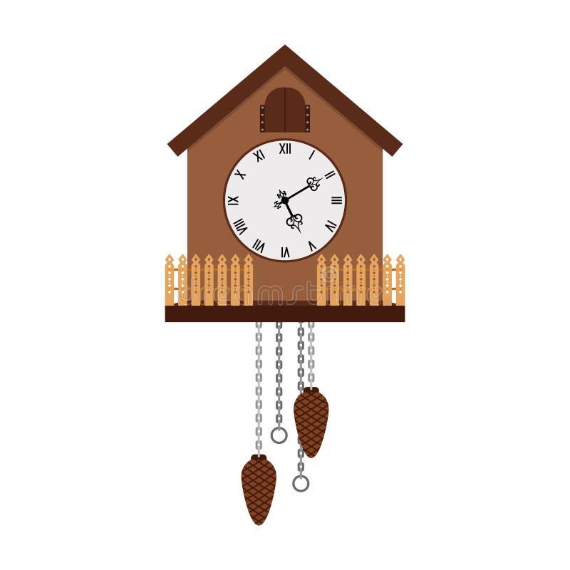Красивые часы с кукушкой изолированные на белизне бесплатная иллюстрация