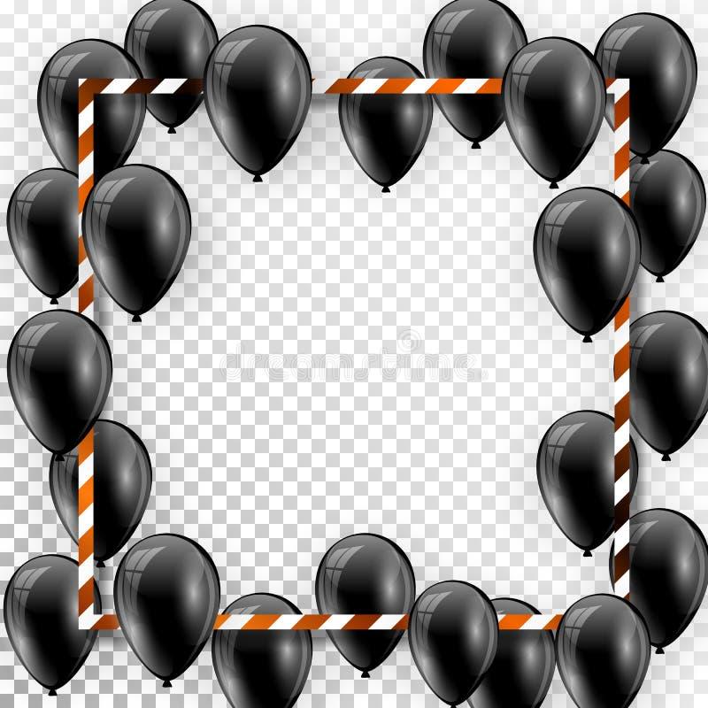 Красивые черные воздушные шары случайно летая над белой рамкой Party элегантная предпосылка вектора с космосом для текста Рамка б иллюстрация вектора