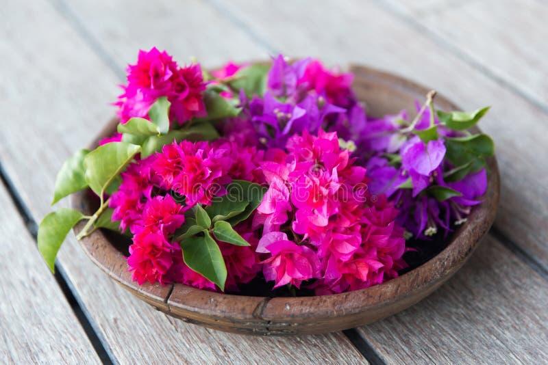 Красивые экзотические цветки в деревянном шаре стоковая фотография rf