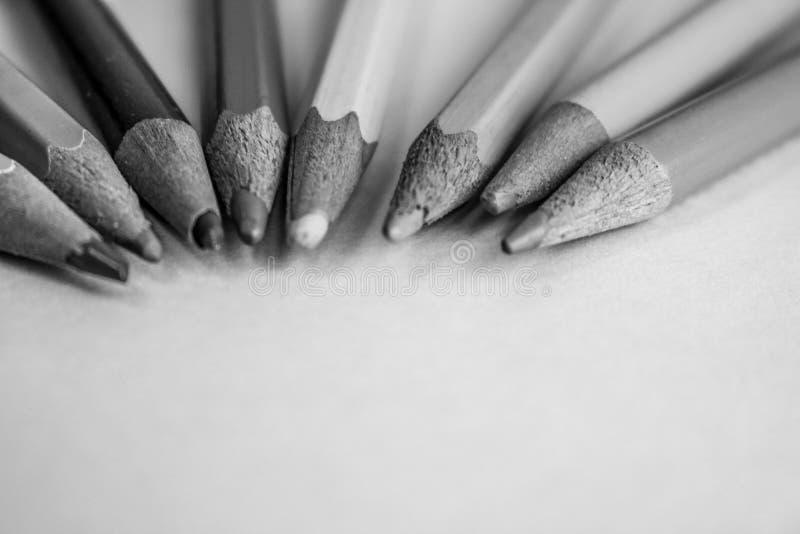 Красивые яркие покрашенные деревянные покрашенные точить карандаши для рисовать Плоский космос положения и экземпляра на черно-бе стоковое изображение rf