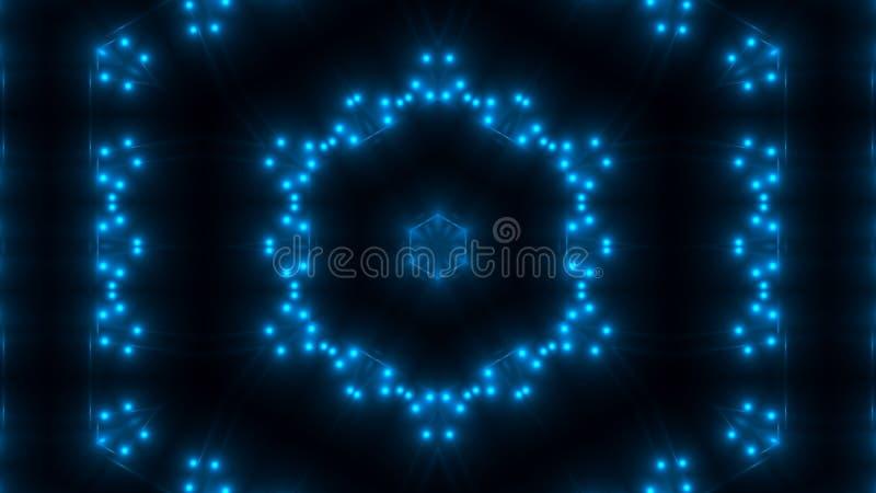 Красивый абстрактный калейдоскоп - свет фрактали голубой, 3d представляет фон, компьютер производя предпосылку иллюстрация вектора