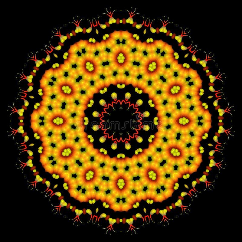 Красивый абстрактный оранжевый орнамент мандалы на черноте изолировал bac иллюстрация штока