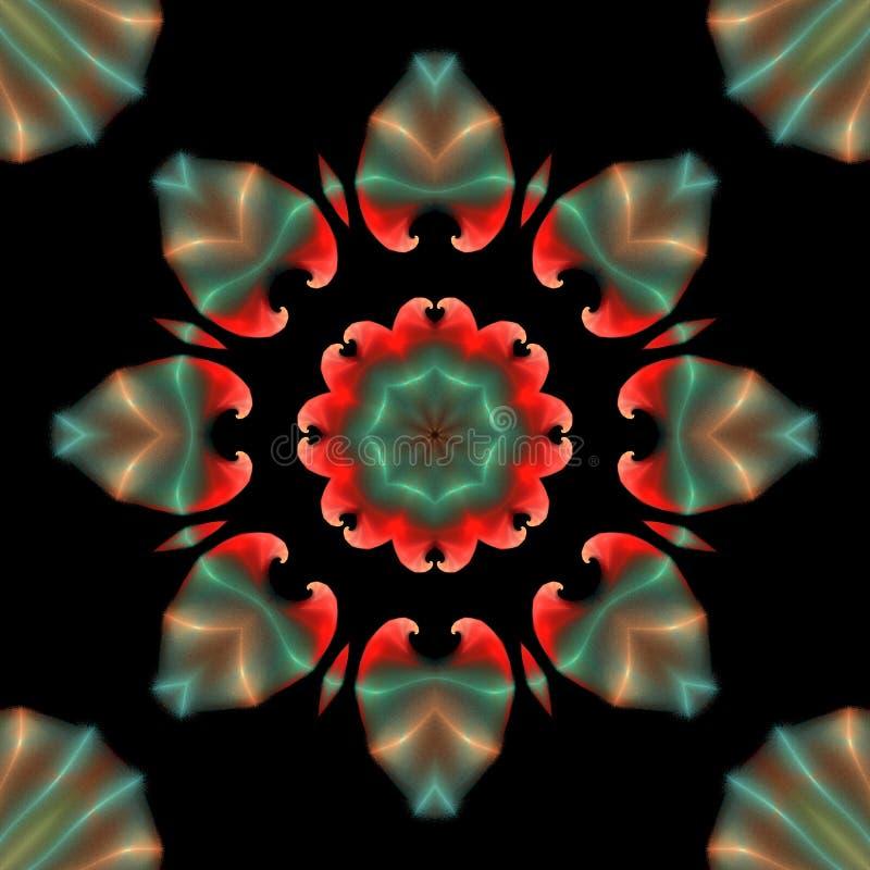 Красивый абстрактный орнамент мандалы на черноте изолировал предпосылку иллюстрация вектора