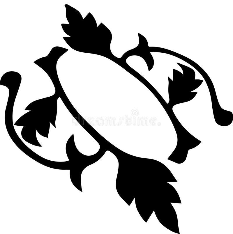 Красивый абстрактный орнамент черных листьев иллюстрация вектора
