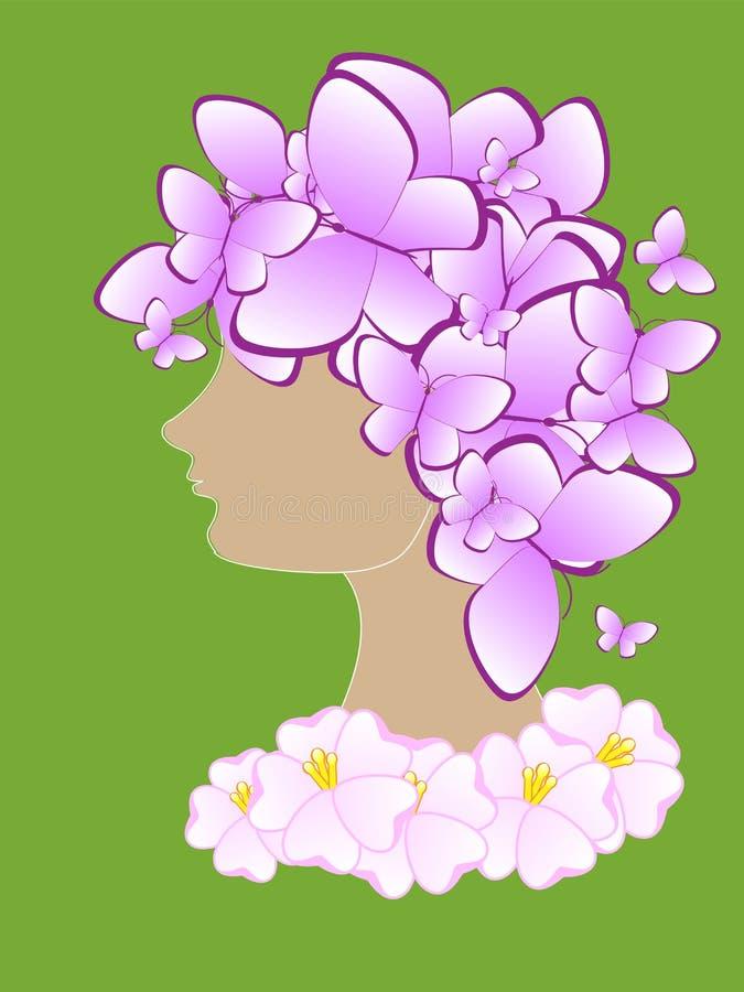 Красивый абстрактный силуэт девушки с бабочками и цветками на его голове иллюстрация штока
