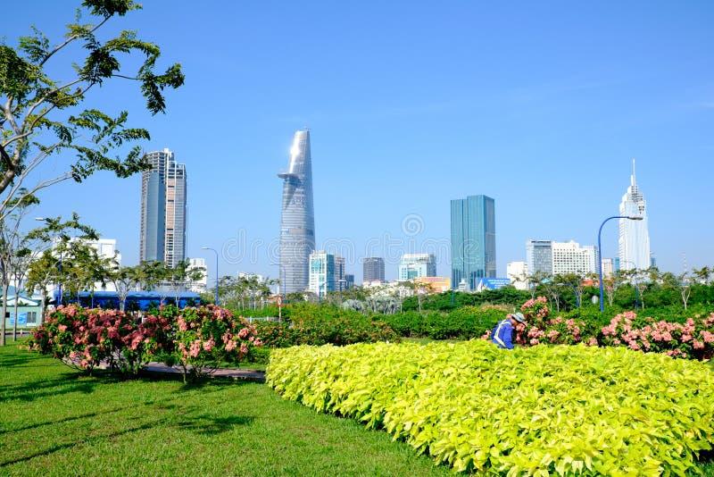 Красивый ландшафт в утре центра Хошимина стоковое изображение