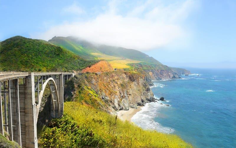 Красивый ландшафт, мост большое Sur Bixby, Калифорния, США стоковые фотографии rf