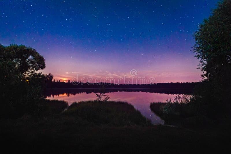 Красивый ландшафт ночи на озере леса с звездами и refl стоковые фото
