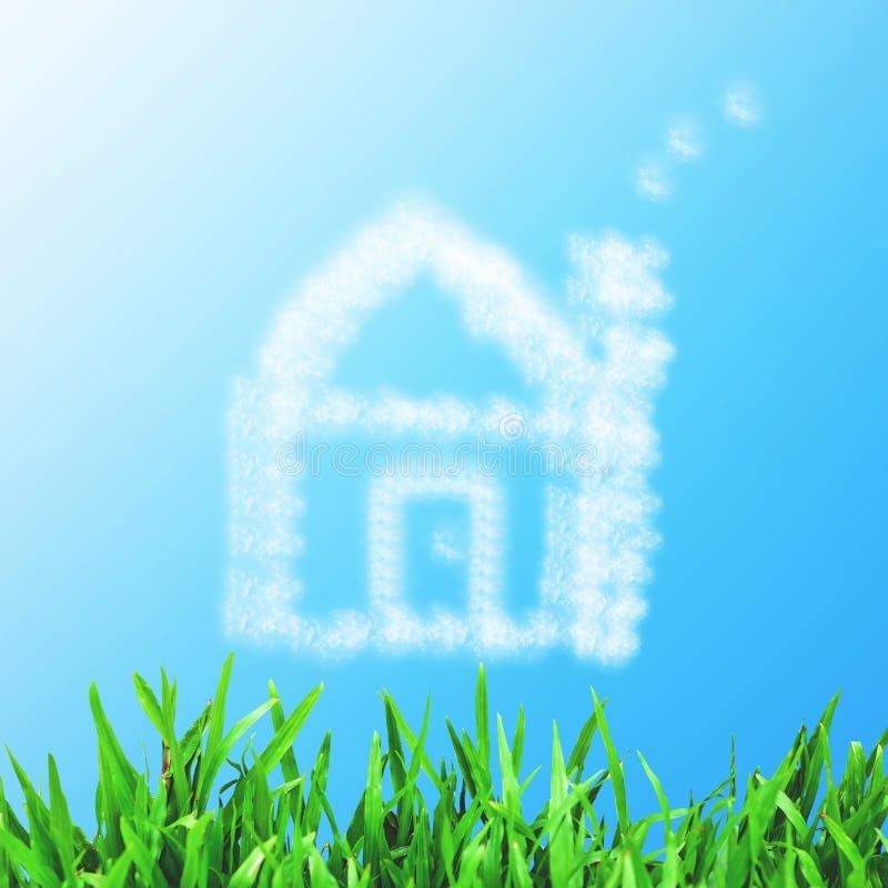 Красивый ландшафт с зеленым лугом, чистым голубым небом и мечтой стоковое фото rf