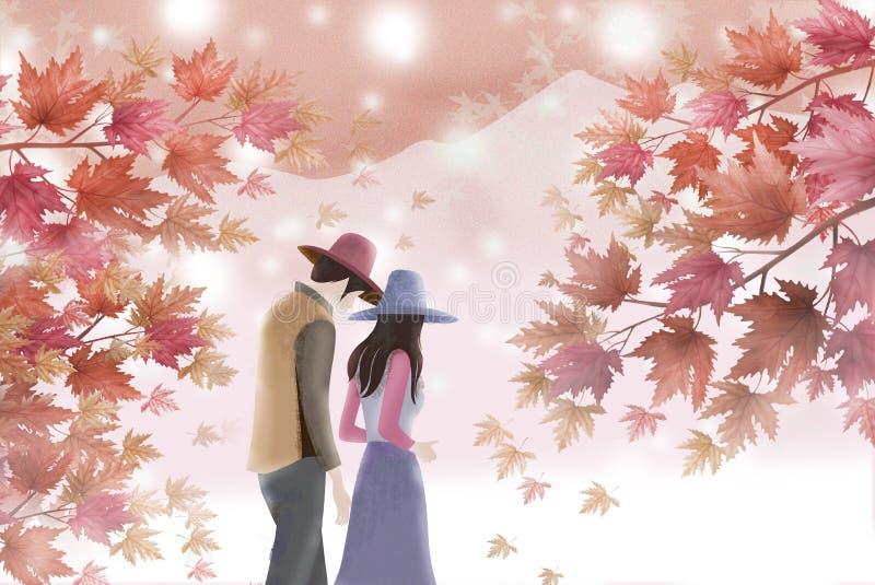 Красивый ландшафт с любовниками - графическая текстура осени картины иллюстрация штока