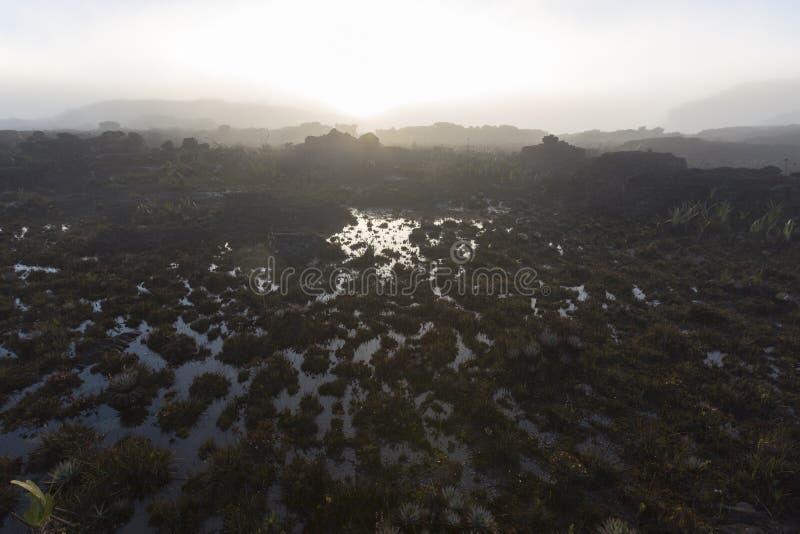 Красивый ландшафт утра на держателе Roraima стоковые изображения