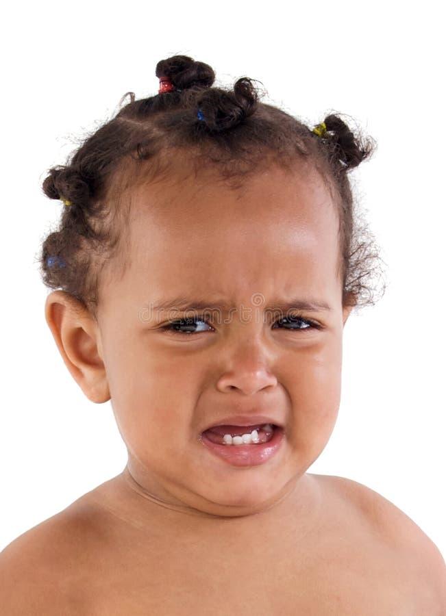 Красивый Афро-американский плакать младенца стоковое изображение rf