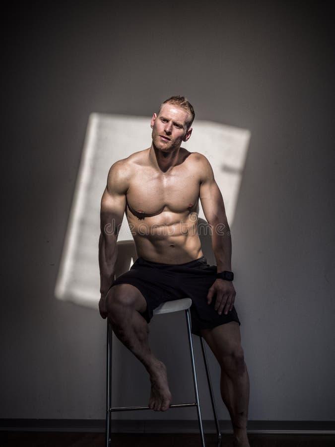 Красивый без рубашки мышечный человек представляя в спортзале стоковые фотографии rf