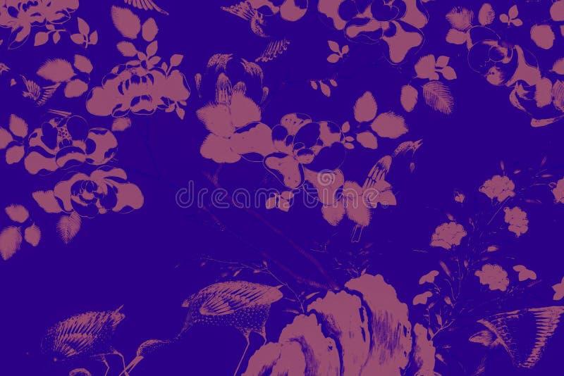Красивый белые красочного розового пурпурного зеленого цвета картин искусства птицы и цветков дерева оранжевая и черные предпосыл стоковое изображение