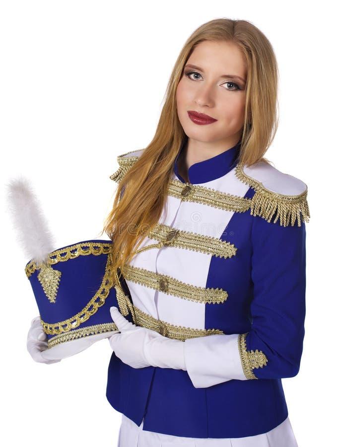 Красивый белокурый барабанщик женщины стоковое изображение