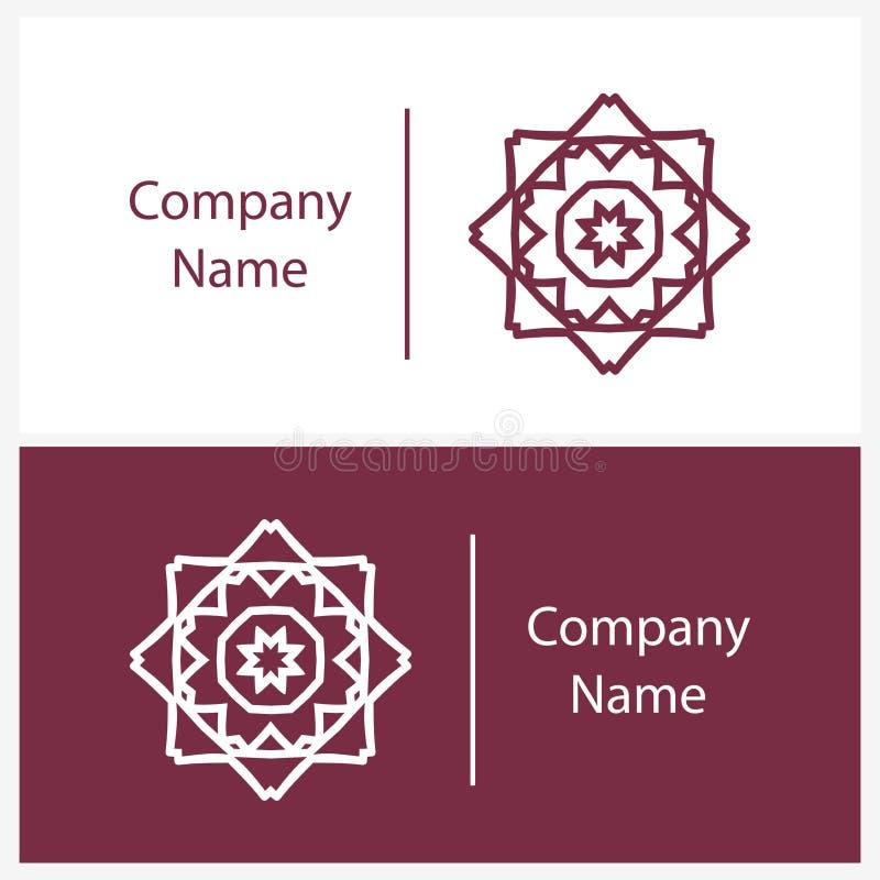 Красивый белый линейный круговой логотип Логотип для бутика kaleidoscope иллюстрация вектора