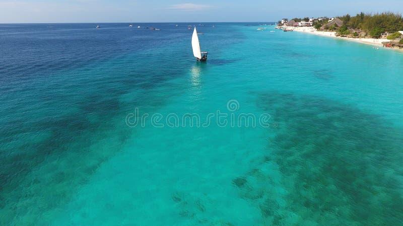 Красивый белый парусник плавая в океан стоковые фотографии rf