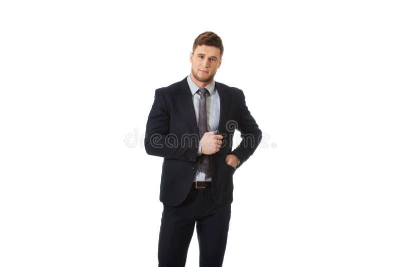Красивый бизнесмен в деловом костюме стоковое изображение rf