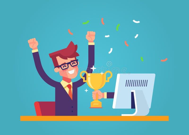 Красивый бизнесмен получил награду золота в онлайн состязании от монитора Современный мужской характер плоско иллюстрация вектора