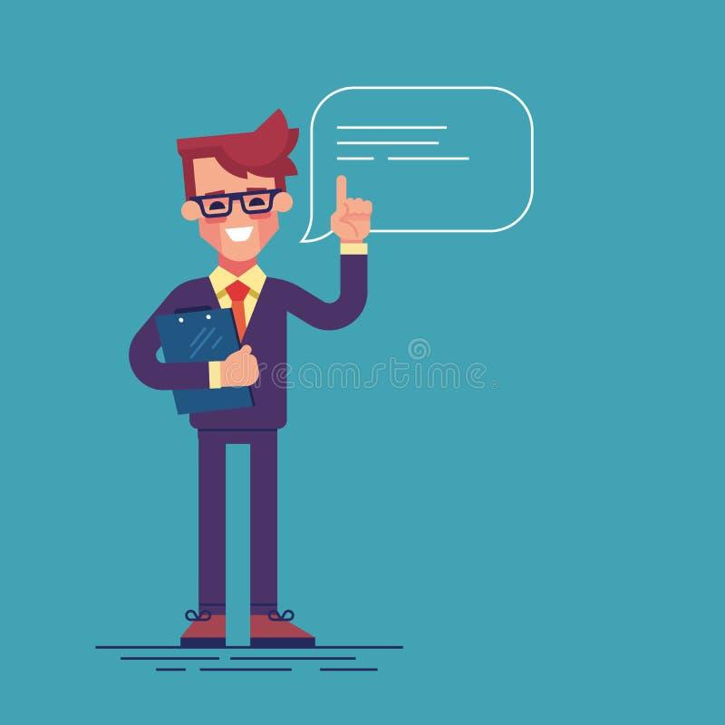 Красивый бизнесмен при стекла поднимая вверх его палец для того чтобы дать совет или рекомендацию Плоская иллюстрация иллюстрация штока
