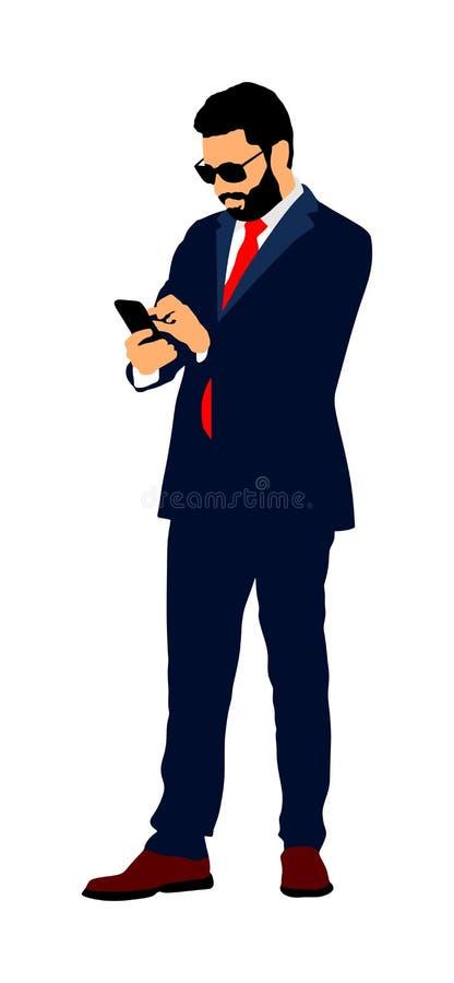 Красивый бизнесмен с мобильным телефоном бесплатная иллюстрация