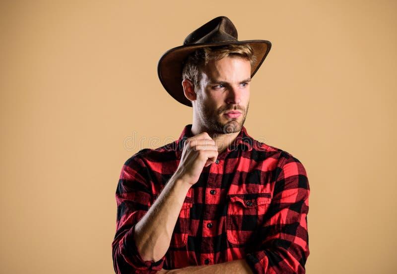 Красивый бородатый мачо Американский ковбой Стандарт красоты Пример истинной мужественности Ковбой в шляпе Западная жизнь стоковые изображения