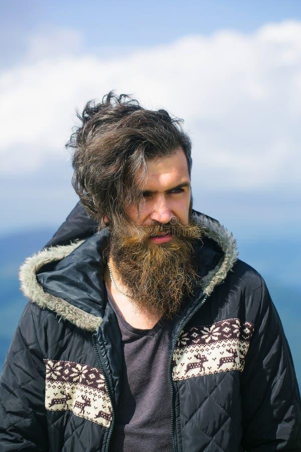 Красивый бородатый битник стоковые фотографии rf