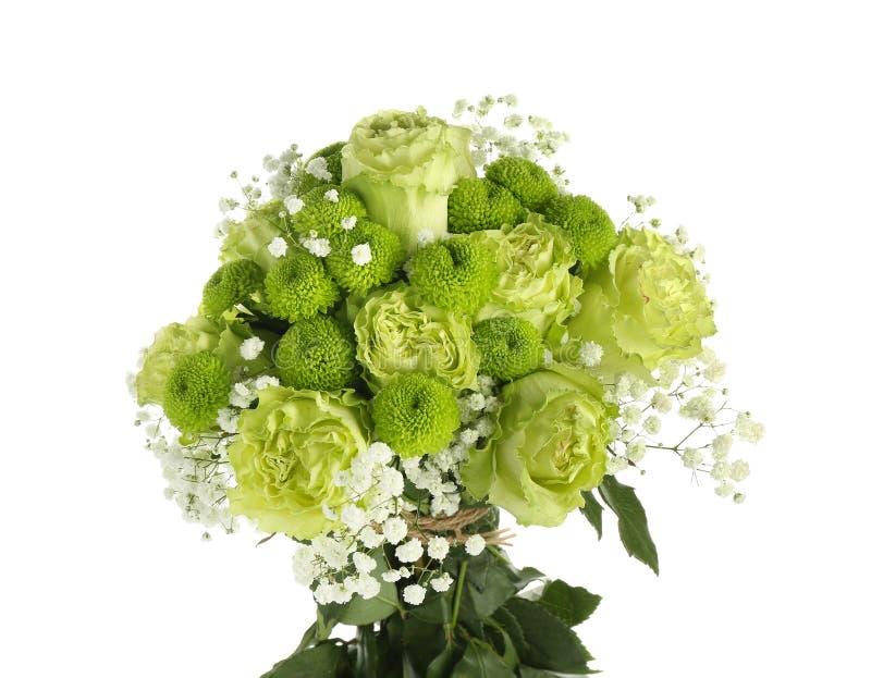 Красивый букет зеленых цветков на белой предпосылке стоковая фотография rf