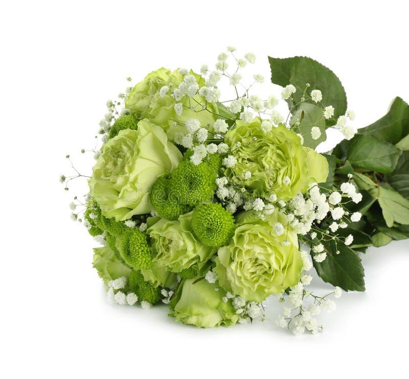 Красивый букет зеленых цветков на белой предпосылке стоковые изображения rf