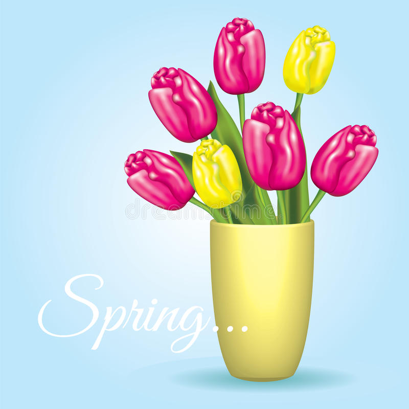 Красивый букет тюльпанов в вазе также вектор иллюстрации притяжки corel just rained иллюстрация вектора