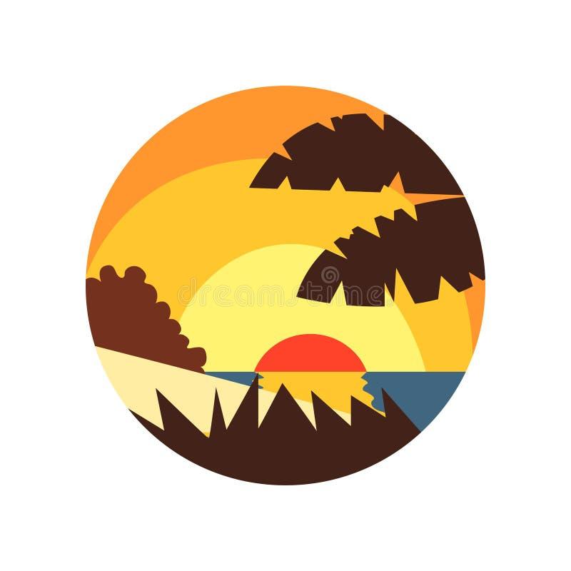 Красивый взгляд лета с пляжем, морем, тропическими заводами, и заходом солнца или восходом солнца в форме Кругл эмблема с ландшаф иллюстрация штока
